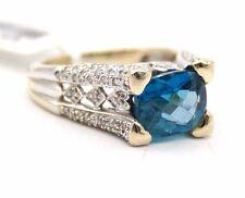LADIES 14K WHITE GOLD LONDON BLUE TOPAZ & DIAMONDS ESTATE RING SIZE 6.5