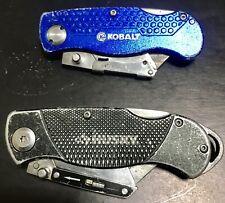 Husky & Kobalt Folding Lock-Back Utility Knives Lot of 2, Blue, Black With Clip