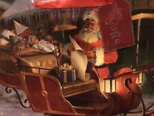 Set Of 5-Large Christmas Gift Bags-17x12x4.5�-Beautif ul Santa Prints-Nwt