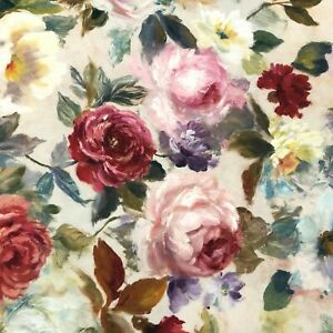 Rose Meadow | Floral Handpainted Fabric | Double Width 300cm | Curtains