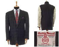 Mens HARRIS TWEED Perche Blazer Coat Jacket Wool Checked Grey Size 44 54
