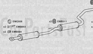 Exhaust Middle Silencers Honda Concerto 1.6 Petrol Saloon 06//1990 to 12//1991
