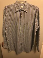 Peter Millar Men's Button Front Shirt L/S Blue, Green, Brown Striped Size Large