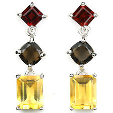 Sterling Silver 925 Natural Genuine Garnet, Smokey Quartz & Citrine Earrings