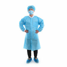 Medical Disposable Protective Lab Coat Knit Collar and Cuff Lab Gown 10pcs/Box