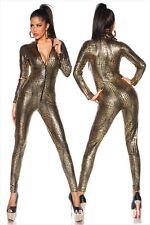 Latex Catsuit, Jumpsuit, Schlangencatsuit, Schwarz-Gold, Einheitsgröße L-XL, NEU