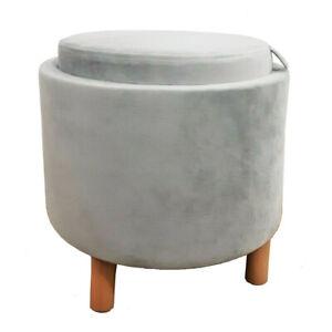 Round Velvet Ottoman Light Grey, Light Wood, Single Seater, Storage #NG