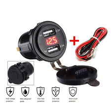 Car Motorcycle Red LED Dual USB Charger 4.2A Volt Meter Voltage Gauge Cover Wire
