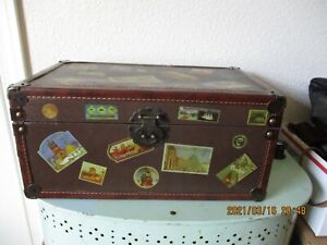 WOODEN CASE WITH METAL HANDLES, HINGES, & LATCH
