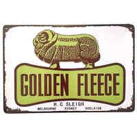 Golden Fleece Ram Metal Tin Sign Bar Shed Garage Man Cave Petrol Oil 30cm x 20cm