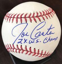 JOE CARTER Signed OML Baseball w/ 2X WS Champ Inscription and MLB auth