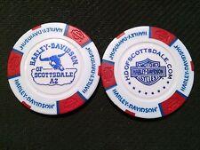 "Harley Davidson Poker Chip (WITH HORNS White & Red) ""Scottsdale"" Arizona"
