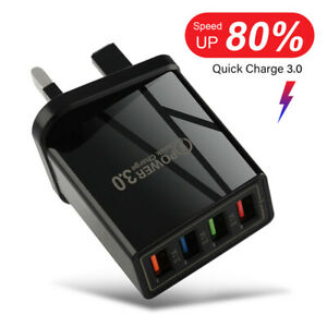 4 Multi-Port QC3.0 Fast Quick ChargeMains Wall Charger Adapter USB Hub UK Plug