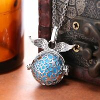 Star Angel Wings Locket Essential Oil Aromatherapy Diffuser Necklace Jewellery