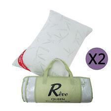 Queen Size Bamboo Pillows Memory Foam Bed Pillow Set of 2 w/Carry Bag