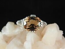 3.42 Ct. Oval Golden Topaz Ring 1920's Style Sterling Silver Filigree