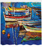 Folk Art Style Boats on Shore Golden Sunset Painting Print Shower Curtain Set