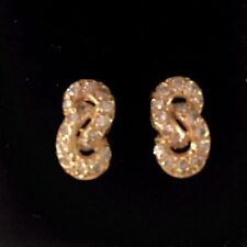 14k Yellow Gold & Diamond Pave Love Knot Earrings 1.00 TCW