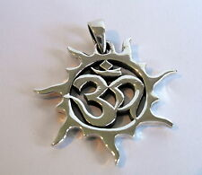 Sterling Silver (925)  Om In Swirly Sun  Pendant   (7 Grams)  !!     New  !!