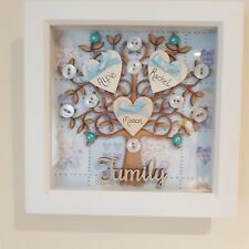 Family Tree Boxed Frame, Handmade, Keepsake, Wedding, Christmas Gift