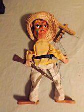 Mexican Folk Art Latino Puppet Marionette Vintage Sombrero Face Paint Gun