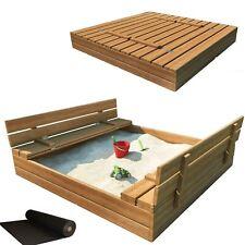Sandkasten Sandbox mit Deckel SITZBÄNKEN Sandkiste Holz 150x150 cm