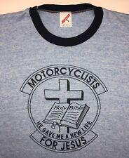 "Vintage Mens XL 80s Christian ""Motorcyclists For Jesus"" Bible Tri-Blend T-Shirt"