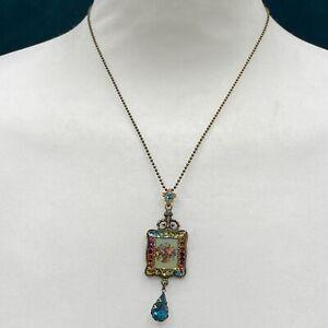 Michal Negrin - Design Necklace Floral Frame Swarovski Crystal Drop Pendant