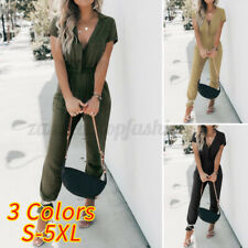 Women's Short Sleeve Casual Loose Cargo Jumpsuits Button Down Romper Long Pants