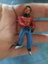 Vintage Christmas Metal Ice Skater Retro Collectible Red & Blue Man Holiday