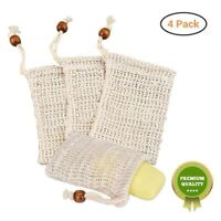 4Pcs Sisal Soap Bag Soft Exfoliating Mesh Soap Bar Pouch Saver Holder YLM