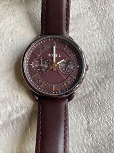 Fossil ES4121 QUARTZ Womens Leather Analog Wine Dial Watch