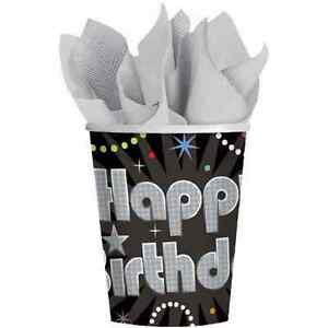 Time to Party Prismatic Black Silver 21st Adult Birthday Party 9 oz. Paper Cups