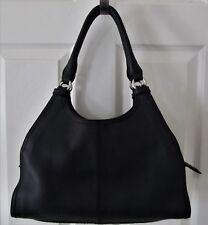 COLE HAAN Genuine Black Pebbled Leather Satchel Shoulder Bag Purse EUC