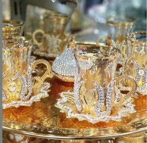 Handmade Turkish Arabic GREEK 6 Coffee Cup Saucer Set (colored )+ tray