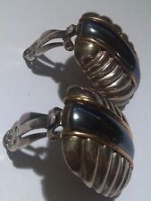 Vintage Sculpted Cable ClipOn Earrings W/Hematite&14K Strands over Silver by M/B