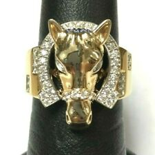 (MA1) 14k Yellow Gold Cubic Zirconia 8.5g Size 8 Men's Horse & Horse Shoe Ring