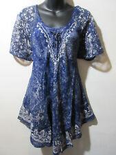 Top Fits XL 1X 2X 3X Plus Tunic Blue Batik Art Lace Sleeves Bell Shaped NWT G482