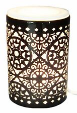 Black Laser Cut Ceramic Electric Oil Burner Lamp