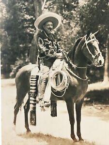 Early 1900s Mexico Mexican Cowboy Vaquero Sombrero Horse Lasso Gevaert RPPC