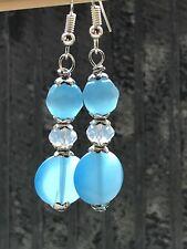Blue Dangle Earrings, Turquoise Jewelry, Cats Eye earrings, Sterling Silver Hook