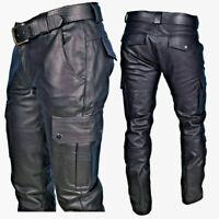 Herren Glänzend PU Leder Hose Reißverschluss Motorrad Biker Gothic Steampunk L