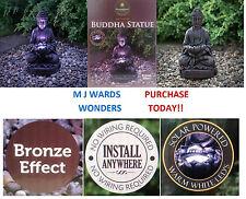 Solaire alimenté effet bronze-Statue de Bouddha-blanc chaud LED-Jardin Extérieur