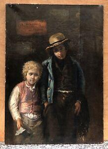 Tableau Ancien Huile Portrait Enfants Rue Agathe DOUTRELEAU (1847-1880 ) XIXe