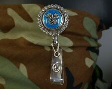 RN NURSE bling TEAL snap Retractable Badge Reel w/CHAIN Pull ID Holder clip
