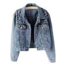 Plus Size Women's Pearl Denim Jacket Loose Fit Casual Biker Jeans Coat Outwear