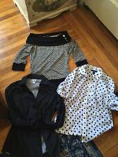 Lot of 3 Womens Shirts Size M Tops  Polka Dots long Sleeve Clothes