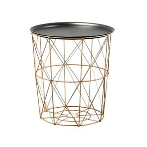 Modern Gold Round Wire Metal Storage Basket Side Table Bedroom Balcony Cor X2M3