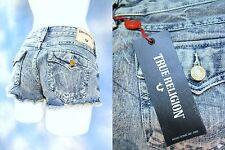 NEW TRUE RELIGION Indigo Acid destroyed JOEY flaps cut off denim jeans shorts 30