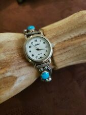 VINTAGE NATIVE AMERICAN STERLING SILVER TURQUOISE PEARL WATCH BAND R SIGNED